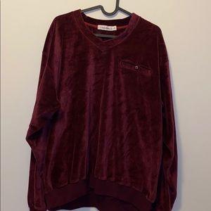 Calvin Klein burgundy Velour sweatshirt top